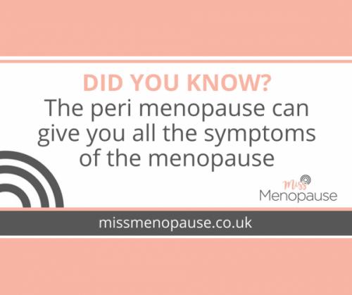 perimenopause symptoms like the menopause